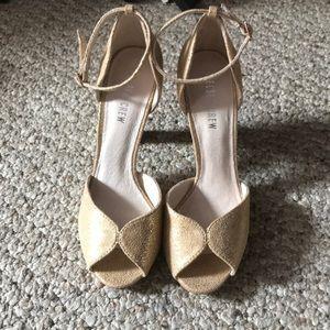 Sparkly gold/nude peep toe high heels